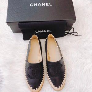 CHANEL Shoes - Chanel CC logo leather espadrilles flats